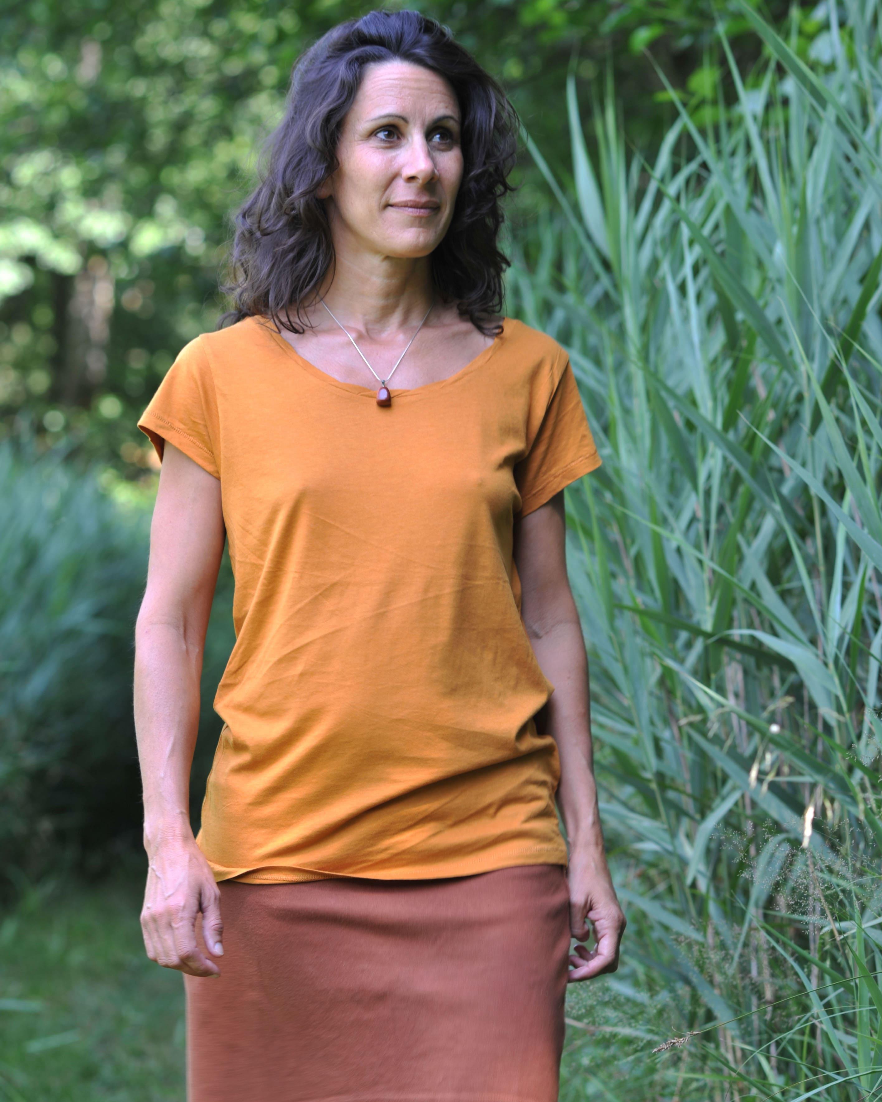 T-shirt en eucalyptus couleur ambre