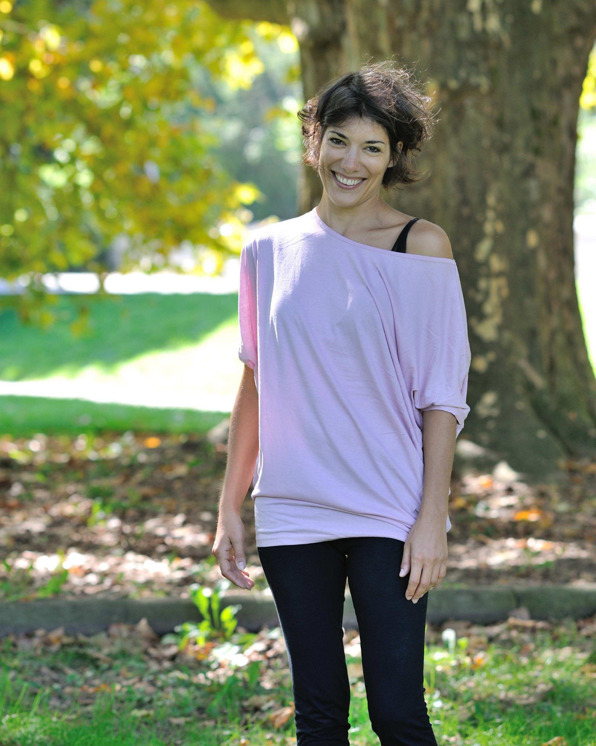 t-shirt à manche chauve souris rose